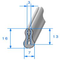 TPE Compact Gris en U   [pour EP 3 mm]   Vendu au Mètre