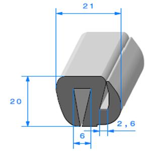 Joint de Fenêtre en S   [20 x 21 mm]   Vendu au Mètre