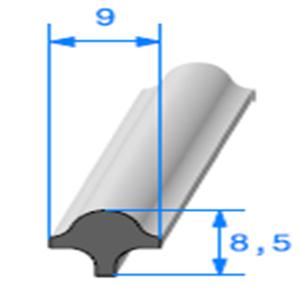 Clé pour Prof Compact Glace 9x8.5 mm   Vendu au Mètre