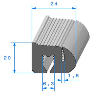 Joint de Fenêtre en S   [20 x 24 mm]   Vendu au Mètre