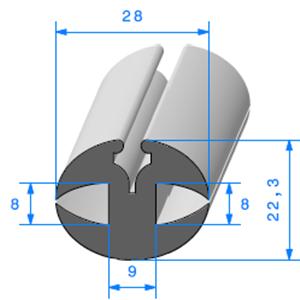 Joint de Fenêtre en H 22.3x28 mm   Vendu au Mètre
