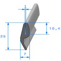 Compact en U + LANG.   [pour EP 1 mm]   Vendu au Mètre