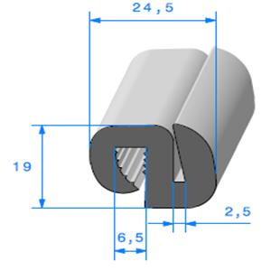 Joint de Fenêtre en S   [19 x 24.5 mm]   Vendu au Mètre
