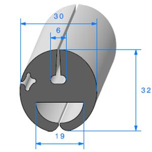 Joint de Fenêtre en H   [30 x 32 mm]   Vendu au Mètre