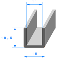 Compact en U   Ref 337   Vendu au Mètre