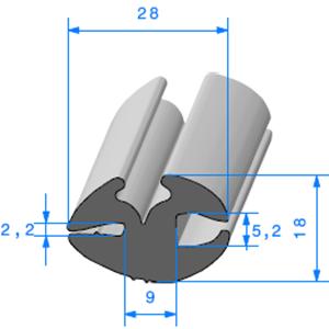 Joint de Fenêtre en H   [28 x 18 mm]   Vendu au Mètre