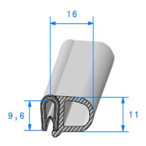 Pince PVC Armé + Bulbe EPDM   [pour EP 1.8 à 3 mm]   Vendu au Mètre
