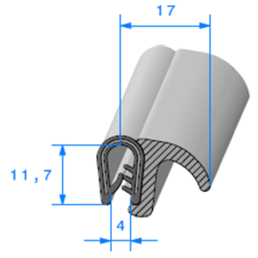 Pince PVC Armé + Lèvre EPDM   [pour EP 1.5 à 3 mm]   Vendu au Mètre