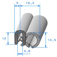 Pince EPDM Armé + Bulbe EPDM   [pour EP 2 à 4 mm]   Vendu au Mètre
