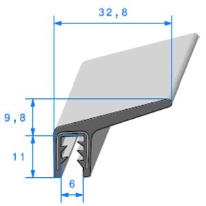 Pince EPDM Armé + Lèvre   [pour EP 4 à 5 mm]   Vendu au Mètre
