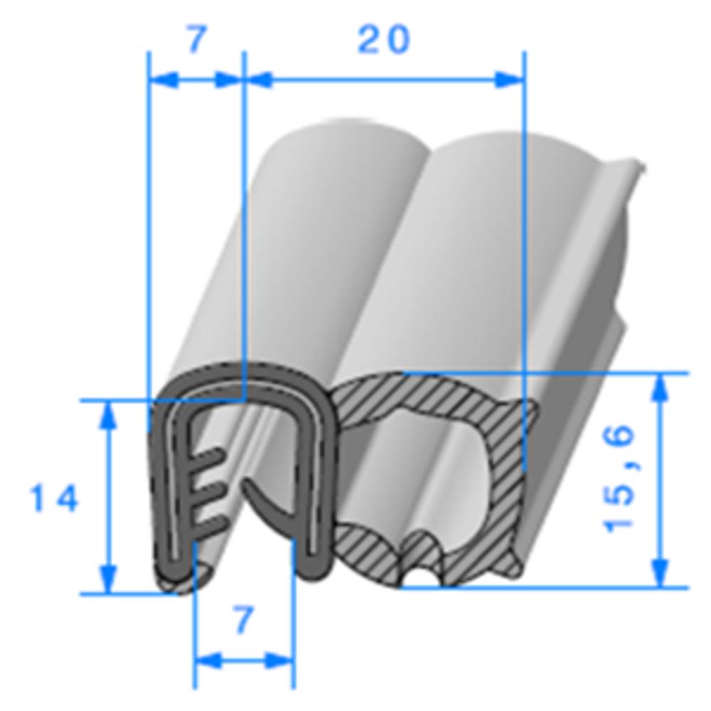 Pince EPDM Armé + Bulbe   [pour EP 5 à 6 mm]   Vendu au Mètre