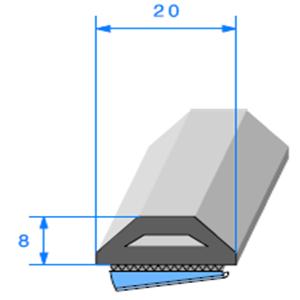 Butoir ADH <br /> [20 x 8 mm] <br /> Vendu au Mètre<br />