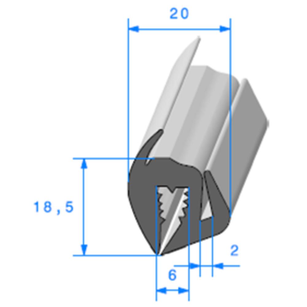 Joint de Fenêtre en S   [18.5 x 20 mm]   Vendu au Mètre