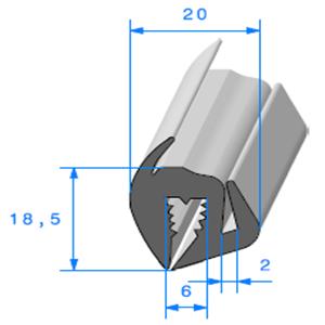 Joint de Fenêtre en S   Ref 486   Vendu au Mètre
