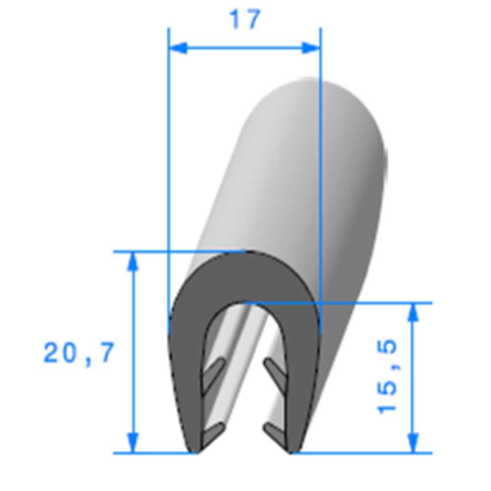 Pince EPDM Bi-Dureté   [pour EP 5 à 8 mm]   Vendu au Mètre