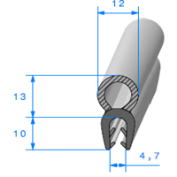 EPDM Compact en U <br /> [pour EP 2.5 à 3.5 mm] <br /> Vendu au Mètre<br />