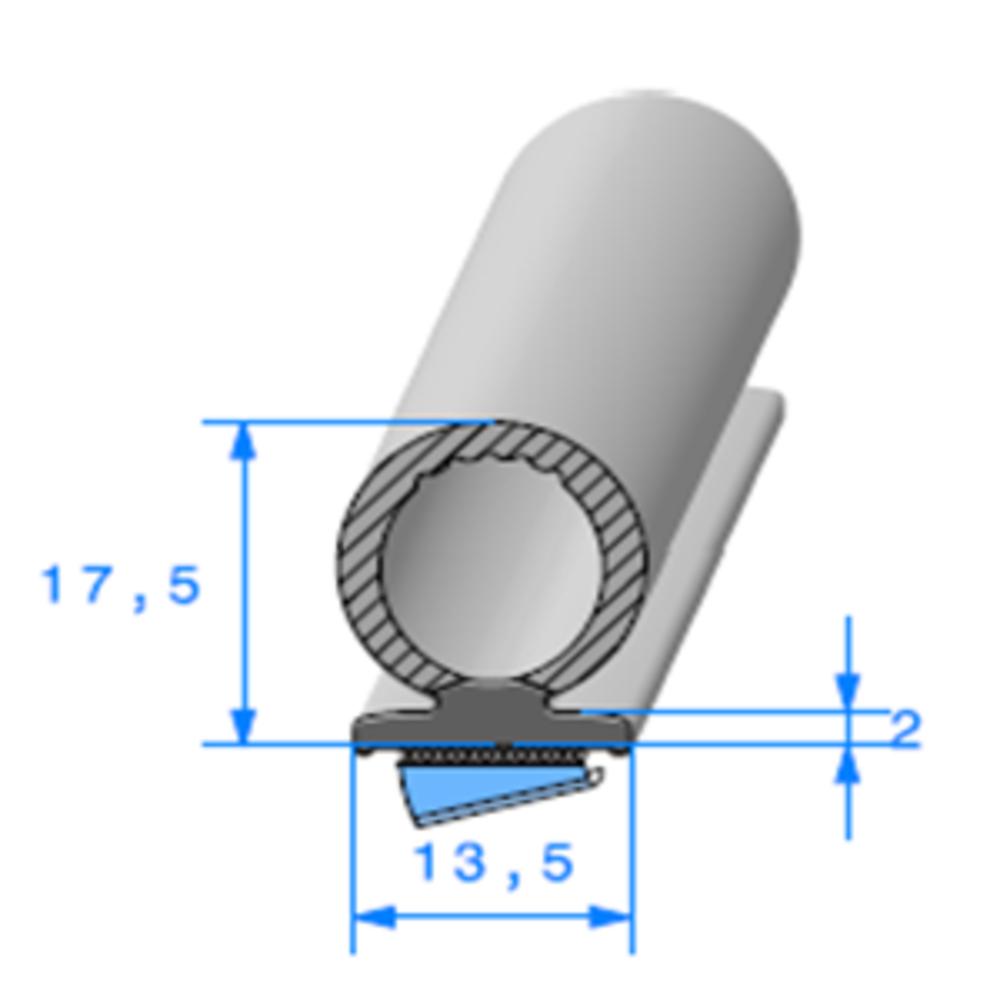 Semelle EPDM ADH + Bulbe EPDM   [13.5 x 17.5 mm]   Vendu au Mètre