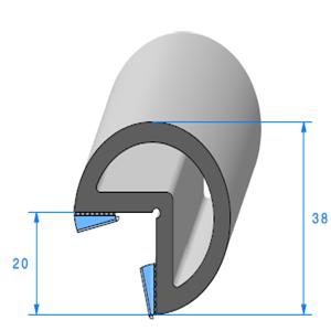 Butoir pour Angle -ADH- 02x10 mm <br /> Vendu au Mètre<br />