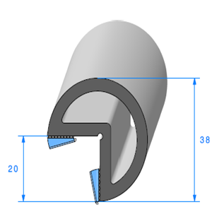 Butoir pour Angle ADH <br /> Ref 520 <br /> Vendu au Mètre<br />