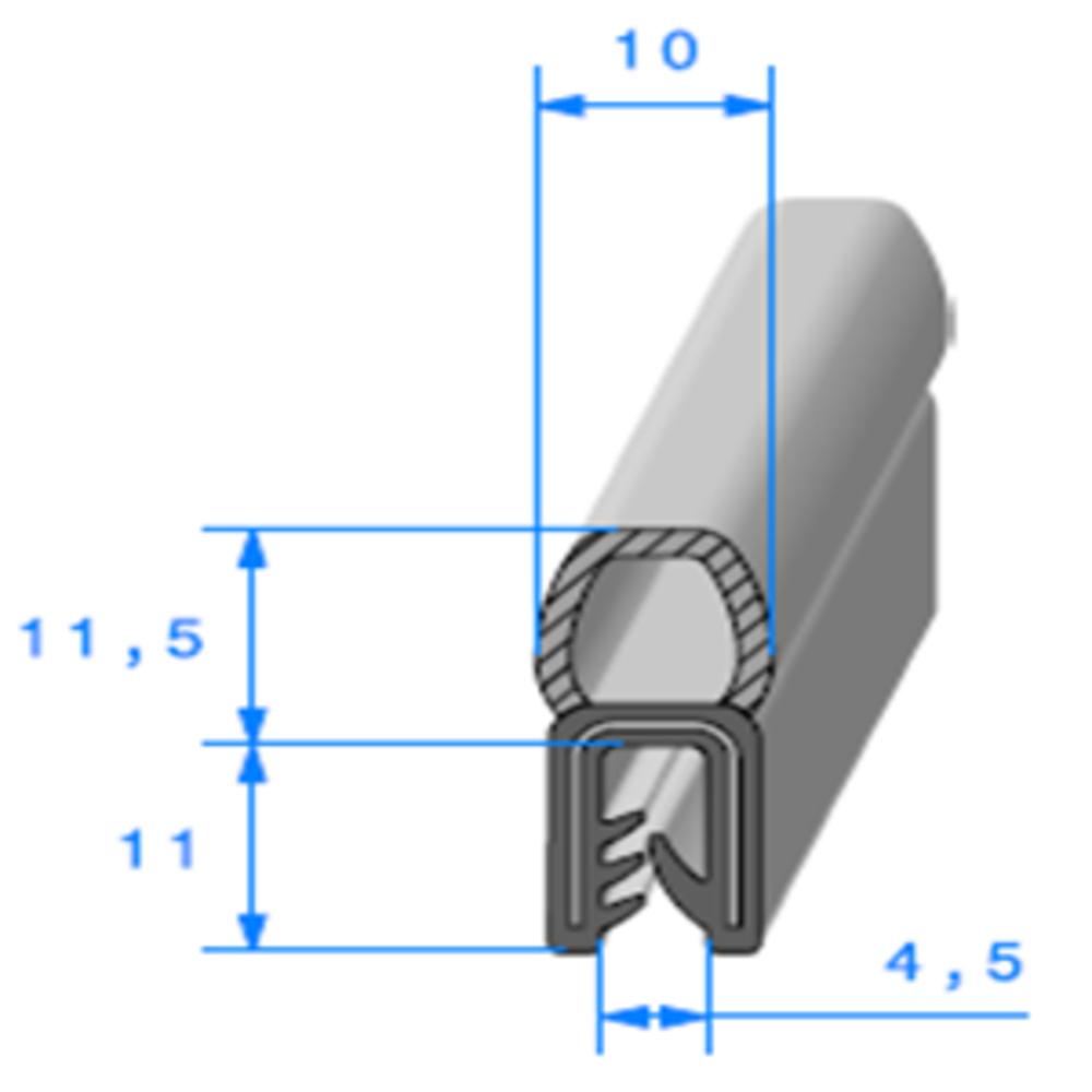 Pince EPDM Armé + Bulbe EPDM   [pour EP 1 à 3.5 mm]   Vendu au Mètre