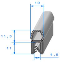 Pince EPDM Armé + Bulbe EPDM <br /> [pour EP 1 à 3.5 mm] <br /> Vendu au Mètre<br />