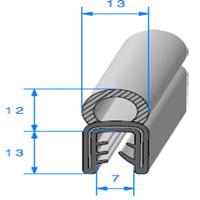 Pince EPDM Armé + Bulbe EPDM <br /> [pour EP 3 à 5 mm] <br /> Vendu au Mètre<br />