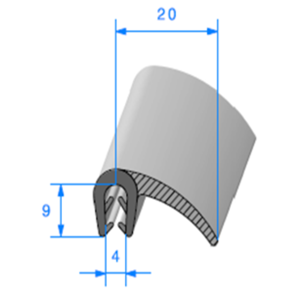 Pince EPDM + Lèvre EPDM   [pour EP 1.5 à 2.5 mm]   Vendu au Mètre