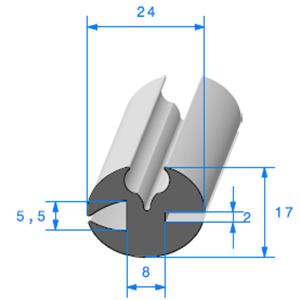Joint de Fenêtre en H 17x24 mm   Vendu au Mètre