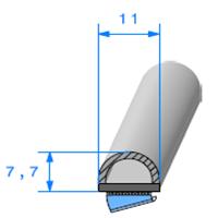 Semelle EPDM ADH + Bulbe   [11 x 7.7 mm]   Vendu au Mètre