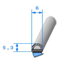 Semelle EPDM ADH + Bulbe EPDM   [6 x 5.3 mm]   Vendu au Mètre