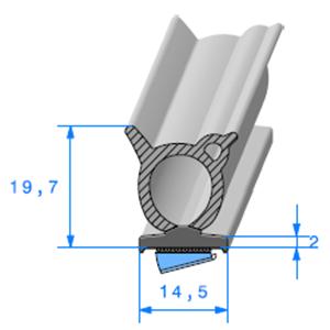 Semelle EPDM ADH + Bulbe EPDM   Ref 563   Vendu au Mètre