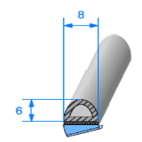 1/2 Rond Cellulaire ADH   [8 x 6 mm]   Vendu au Mètre