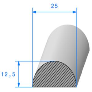 1/2 Rond Cellulaire   [25 x 12.5 mm]   Vendu au Mètre