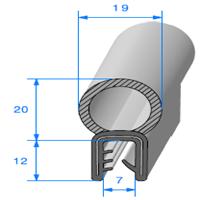 Pince EPDM Armé + Bulbe EPDM <br /> [pour EP 1.5 à 2.5 mm] <br /> Vendu au Mètre<br />