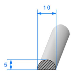 1/2 Rond Cellulaire   [10 x 5 mm]   Vendu au Mètre