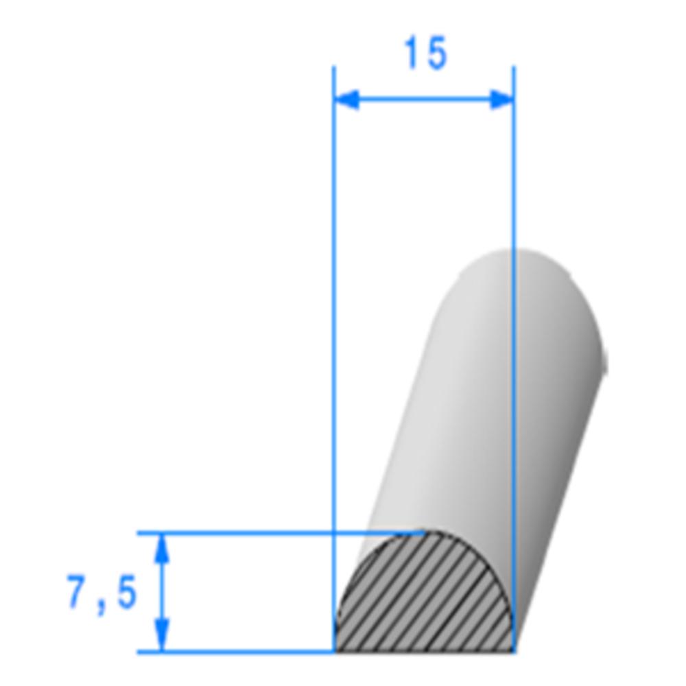1/2 Rond Cellulaire   [15 x 7.5 mm]   Vendu au Mètre