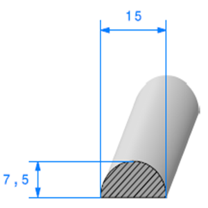 1/2 Rond Cellulaire 15 mm <br /> Vendu au Mètre<br />