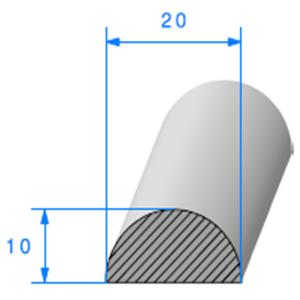 1/2 Rond Cellulaire 20 mm <br /> Vendu au Mètre<br />