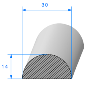 1/2 Rond Cellulaire 30 mm <br /> Vendu au Mètre<br />