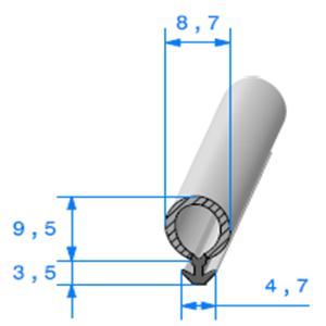 Talon EPDM + Bulbe EPDM   Ref 624   Vendu au Mètre