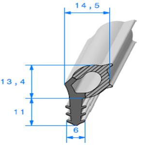 Talon EPDM + Bulbe EPDM <br /> [14.5 x 24.4 mm] <br /> Vendu au Mètre<br />