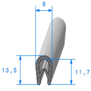 Pince PVC Armé Noir   [pour EP 1.5 à 3 mm]   Vendu au Mètre
