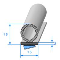 Semelle EPDM ADH + Bulbe   [15 x 18 mm]   Vendu au Mètre