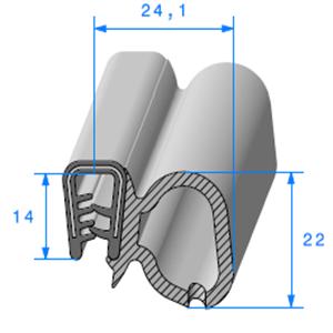 Pince PVC Armé + Bulbe EPDM   [pour EP 2 à 4 mm]   Vendu au Mètre