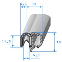 Pince EPDM Armé + Bulbe EPDM   [pour EP 0.8 à 2.5 mm]   Vendu au Mètre