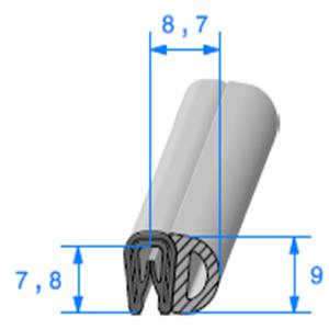 Pince PVC Armé + Bulbe EPDM   [pour EP 1 à 2 mm]   Vendu au Mètre