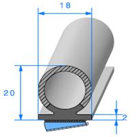 Semelle EPDM ADH + Bulbe EPDM   Ref 697   Vendu au Mètre