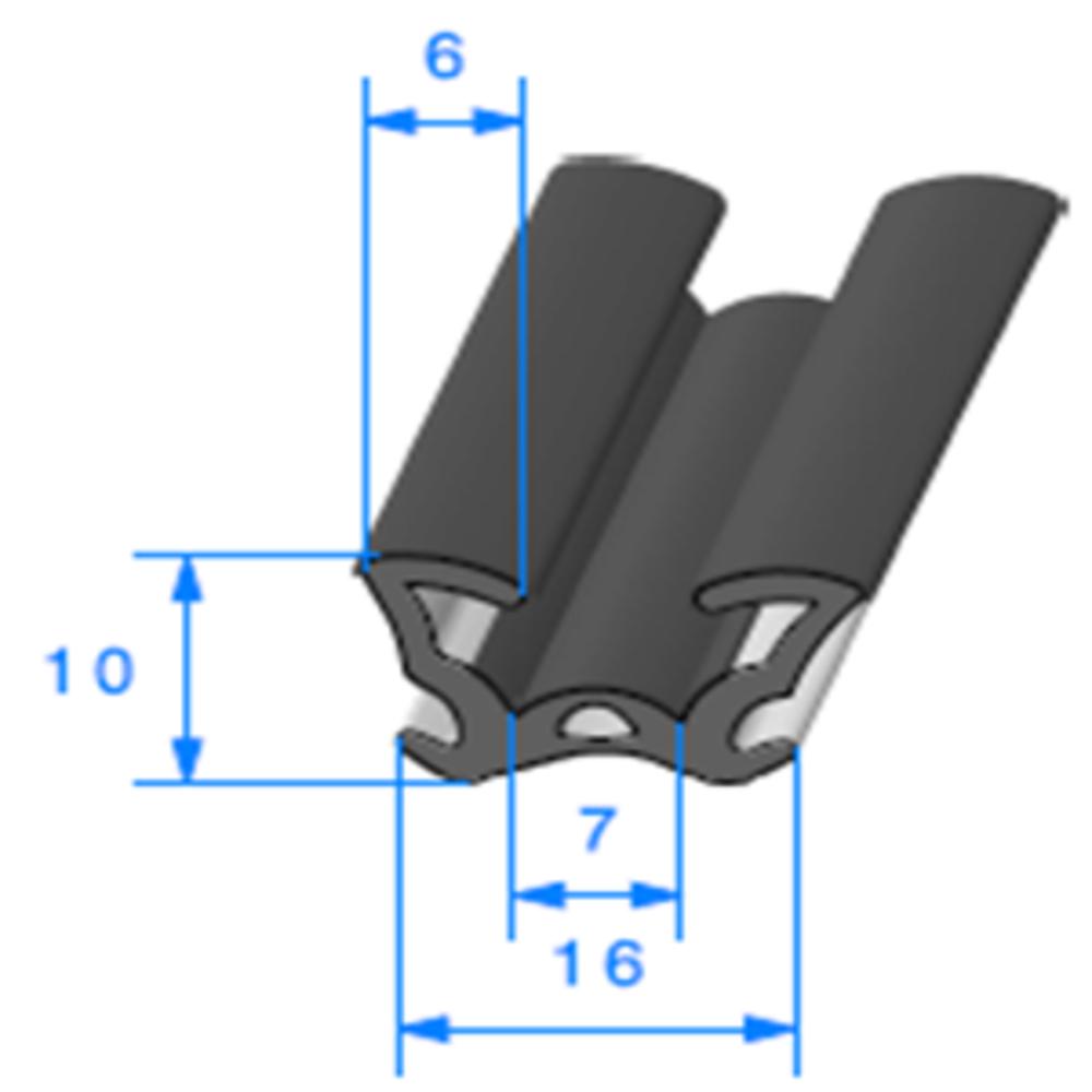 Coulisse Floquée   [16 x 10 mm]   Vendu au Mètre