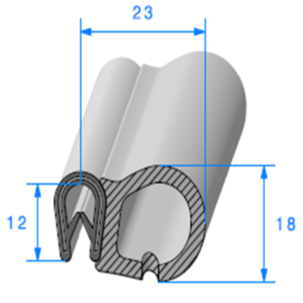 Pince PVC Armé + Bulbe EPDM   [pour EP 1.5 à 3 mm]   Vendu au Mètre