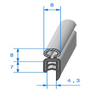 Pince EPDM Armé + Bulbe EPDM <br /> [pour EP 1 à 2.5 mm] <br /> Vendu au Mètre<br />